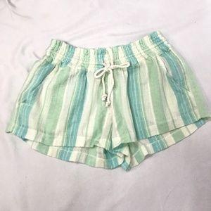 Roxy Striped Elastic Waist Shorts